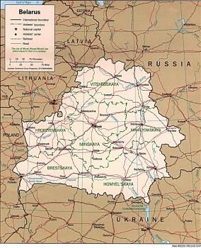 Mapa Białorusi, Granice lądowe: ogółem: 3306 km